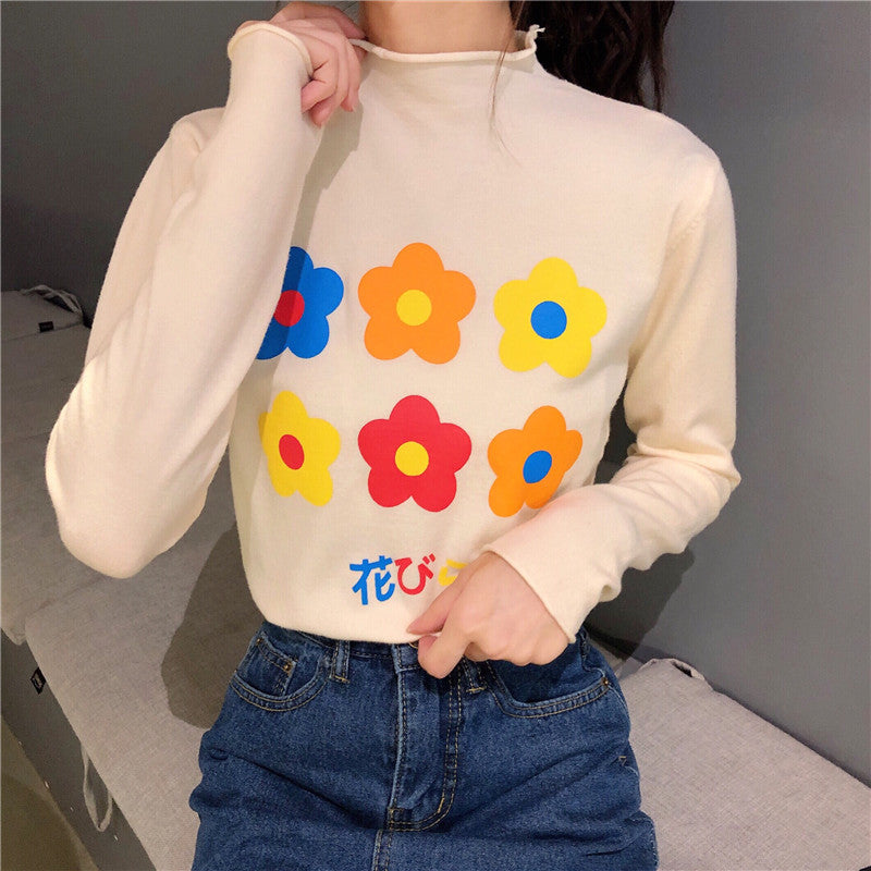 Flowers Turtleneck Sweater - Shop Minu (shirt) Korean Aesthetic Apparel & Accessories
