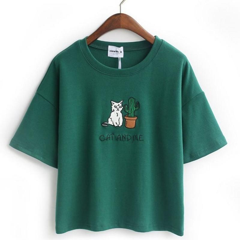 Cat and Me Embroidered Tee - Shop Minu (shirt) Korean Aesthetic Asian Women's Fashion