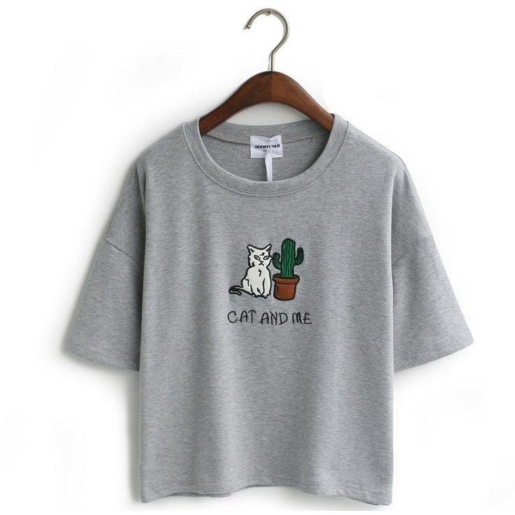 Cat and Me Embroidered T-Shirt - Shop Minu (shirt) Korean Aesthetic Apparel & Accessories