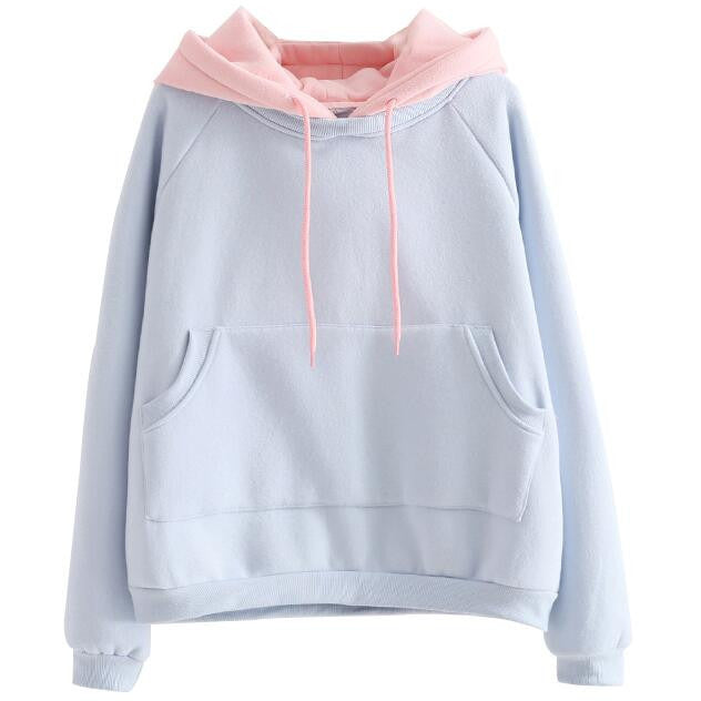 Two Tone Pastel Hoodie - Shop Minu (hoodie) Korean Aesthetic Asian Women's Fashion
