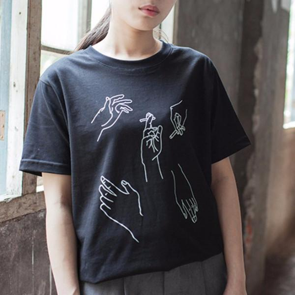 Hands Tee - Shop Minu (shirt) Korean Aesthetic Asian Women's Fashion