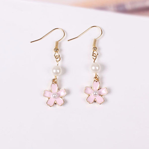 Sakura Drop Earrings - Shop Minu (earrings) Korean Aesthetic Asian Women's Fashion