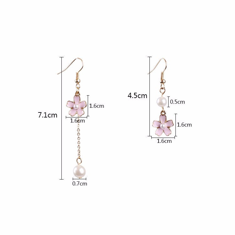 Sakura and Pearl Drop Earrings - Shop Minu (earrings) Korean Aesthetic Apparel & Accessories