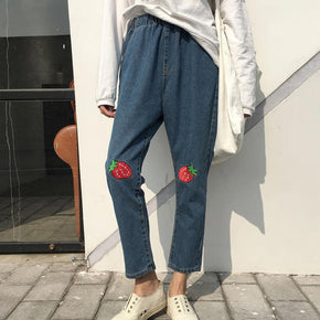 Strawberry Patch Boyfriend Jeans - Shop Minu (pants) Korean Aesthetic Apparel & Accessories