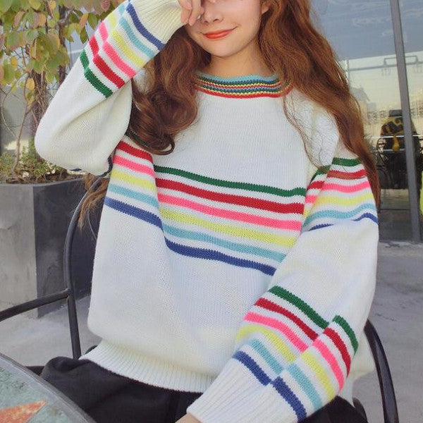 87b91dcf9 Rainbow Stripes Sweater - Shop Minu (sweater) Korean Aesthetic Apparel    Accessories