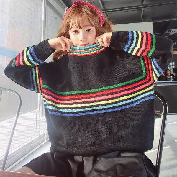 Rainbow Stripes Sweater - Shop Minu (sweater) Korean Aesthetic Asian Women's Fashion