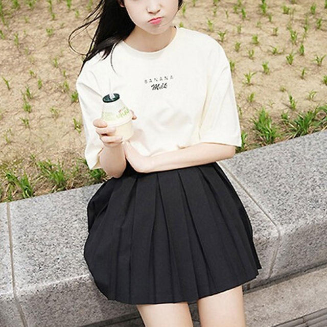 Banana Milk Print T-Shirt - Shop Minu (shirt) Korean Aesthetic Apparel & Accessories