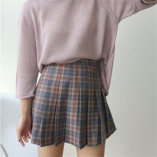 VINTAGE STYLE PLAID SKIRT