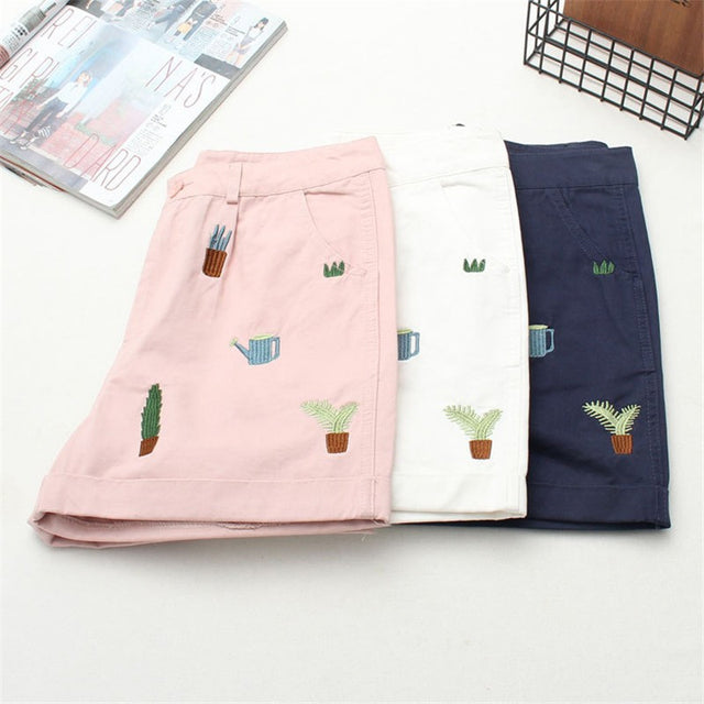 Plant Embroidery Shorts - Shop Minu (shorts) Korean Aesthetic Asian Women's Fashion