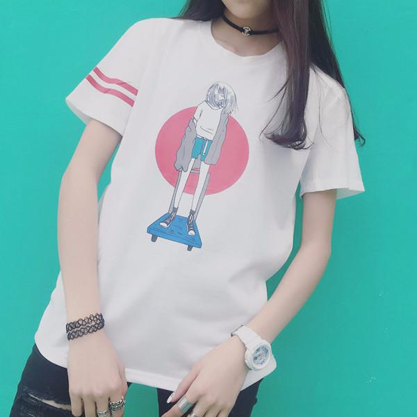 Skate Girl T-Shirt - Shop Minu (shirt) Korean Aesthetic Apparel & Accessories