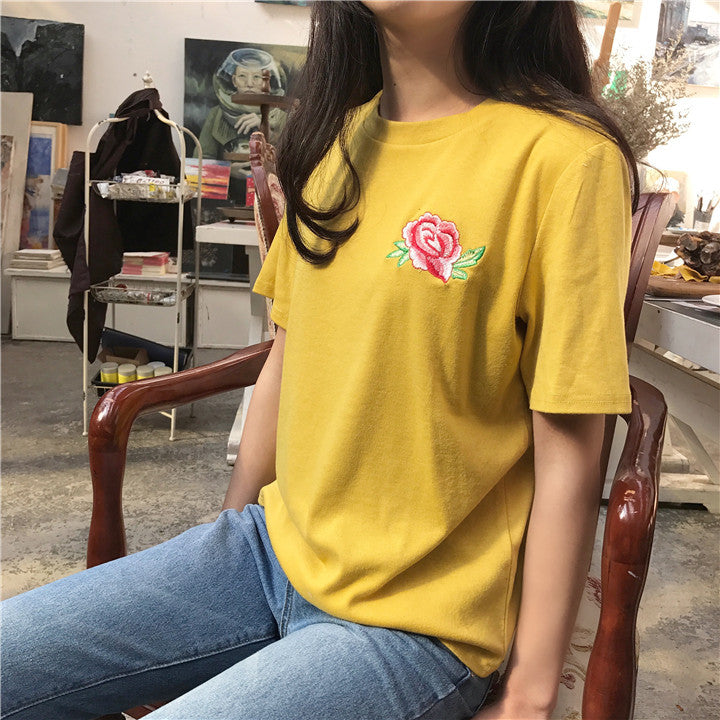 Rose Patch T-Shirt - Shop Minu (shirt) Korean Aesthetic Apparel & Accessories