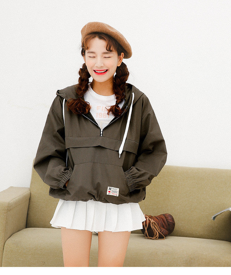 Spring Windbreaker Jacket - Shop Minu (jacket) Korean Aesthetic Asian Women's Fashion