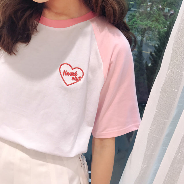 Heart Club Tee - Shop Minu (shirt) Korean Aesthetic Asian Women's Fashion