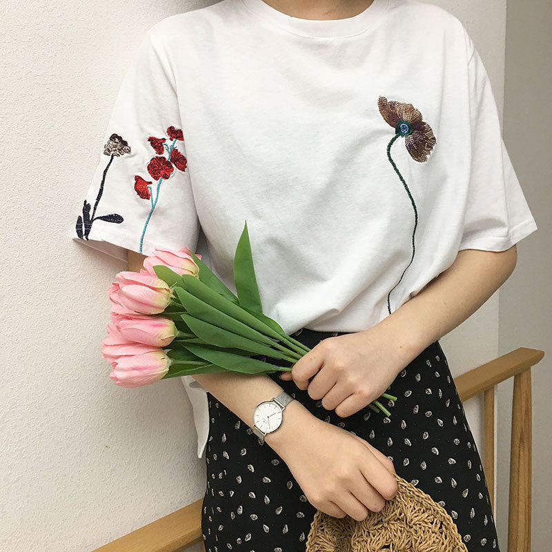 Embroidered Spring Flowers Tee - Shop Minu (shirt) Korean Aesthetic Asian Women's Fashion