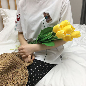 Embroidered Spring Flowers T-Shirt - Shop Minu (shirt) Korean Aesthetic Apparel & Accessories