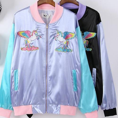 Rainbow Unicorn Embroidery Jacket - Shop Minu (jacket) Korean Aesthetic Apparel & Accessories