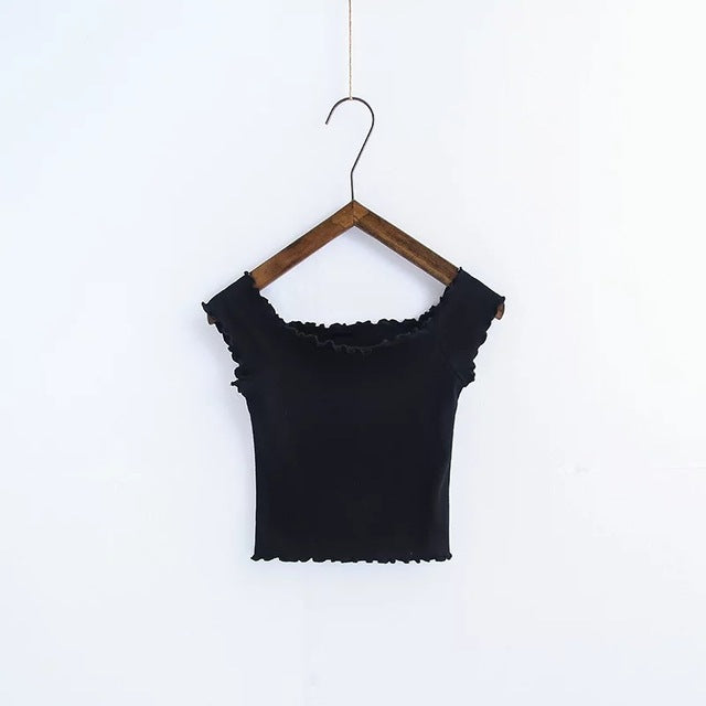 Off Shoulder Crop Top - Shop Minu (shirt) Korean Aesthetic Apparel & Accessories