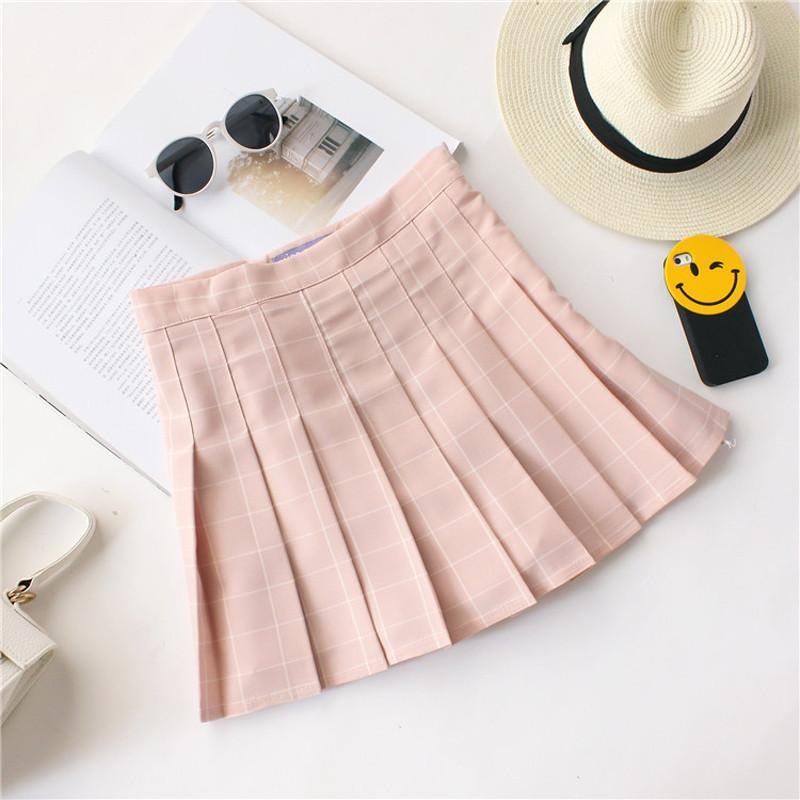 High Waisted Grid Skater Skirt - Shop Minu (skirt) Korean Aesthetic Asian Women's Fashion
