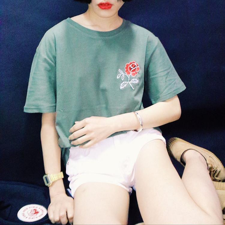Green Rose Tee - Shop Minu (shirt) Korean Aesthetic Asian Women's Fashion