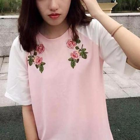 Pink Roses Tee - Shop Minu (shirt) Korean Aesthetic Asian Women's Fashion