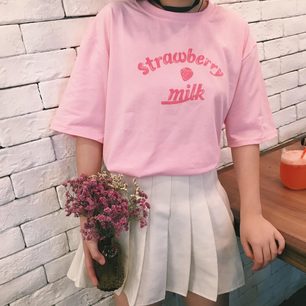 Strawberry Milk T-Shirt - Shop Minu (shirt) Korean Aesthetic Apparel & Accessories