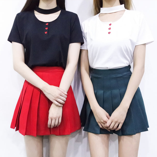 Heart Button Choker T-Shirt - Shop Minu (shirt) Korean Aesthetic Apparel & Accessories