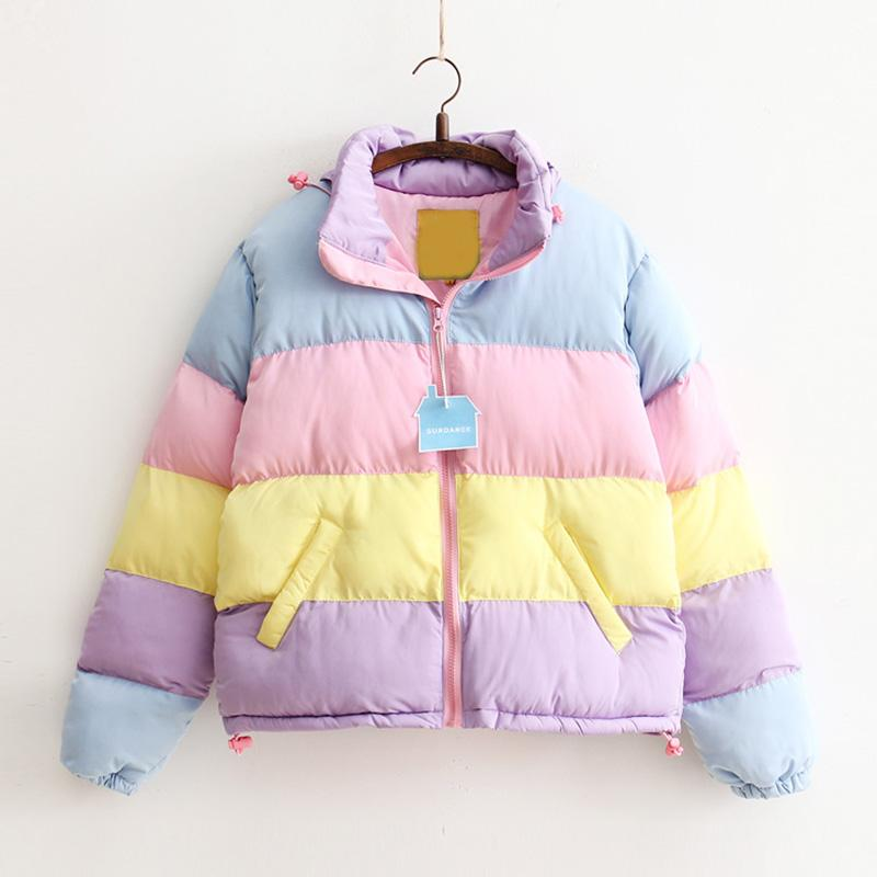 Pastel Stripes Puffer Coat - Shop Minu (jacket) Korean Aesthetic Asian Women's Fashion