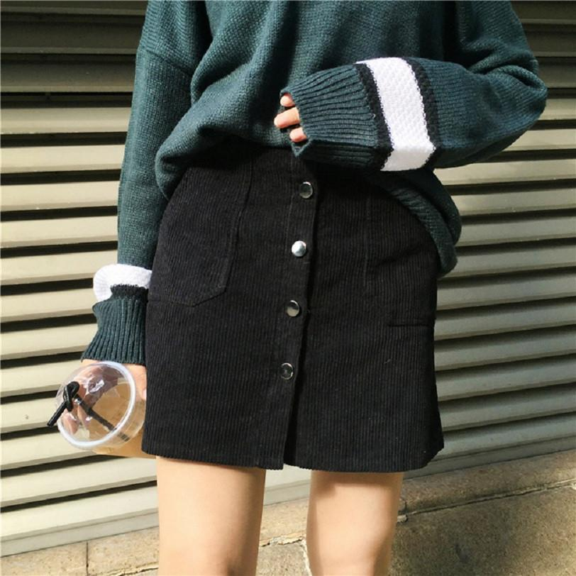 High Waist Corduroy Skirt - Shop Minu (skirt) Korean Aesthetic Apparel & Accessories
