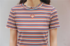 Striped Heart Cut Out T-Shirt - Shop Minu (shirt) Korean Aesthetic Apparel & Accessories