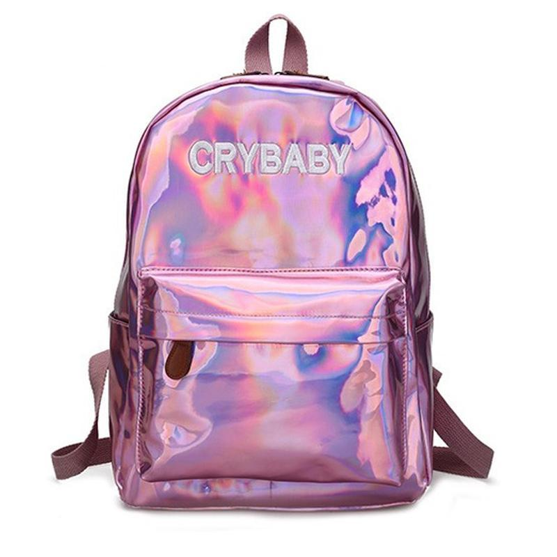 Holographic Crybaby Backpack - Shop Minu (bag) Korean Aesthetic Apparel & Accessories