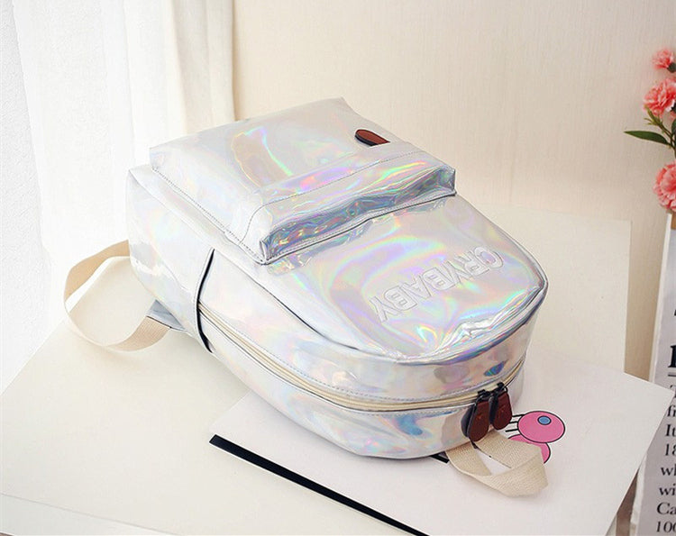 Holographic Crybaby Backpack - Shop Minu (bag) Korean Aesthetic Asian Women's Fashion