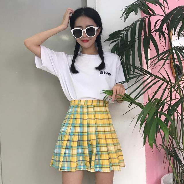 Multicolor High Waisted Skirt - Shop Minu (skirt) Korean Aesthetic Asian Women's Fashion