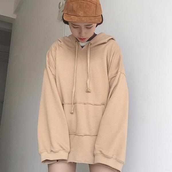 Longline Hoodie - Shop Minu (sweatshirt) Korean Aesthetic Asian Women's Fashion