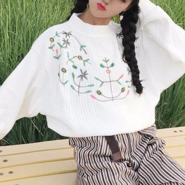 Floral Embroidered Sweater - Shop Minu (sweater) Korean Aesthetic Asian Women's Fashion