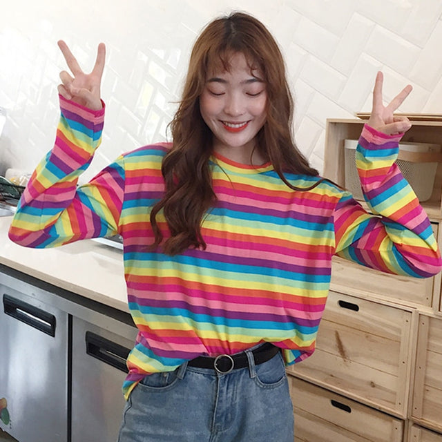 Colorful Rainbow Stripe Long Sleeve Tee - Shop Minu (shirt) Korean Aesthetic Asian Women's Fashion