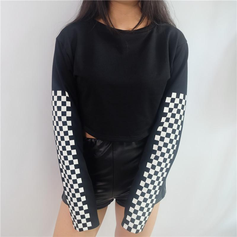 Retro Cropped Checkerboard Sweatshirt - Shop Minu (shirt) Korean Aesthetic Asian Women's Fashion