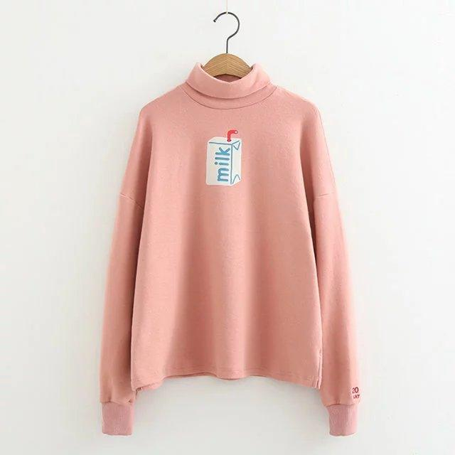 Milk Turtleneck Sweater - Shop Minu (sweater) Korean Aesthetic Apparel & Accessories