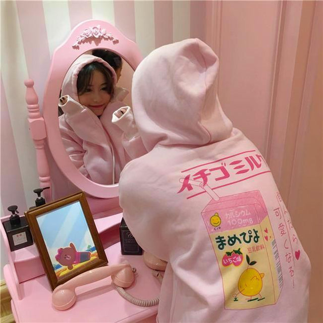Milk Hoodie - Shop Minu (HOODIE) Korean Aesthetic Apparel & Accessories