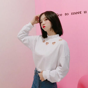 Heart Cut-out Sweatshirt - Shop Minu (sweatshirt) Korean Aesthetic Asian Women's Fashion