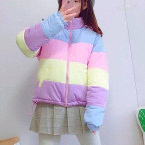 Pastel Stripes Puffer Coat - Shop Minu (jacket) Korean Aesthetic Apparel & Accessories