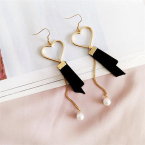 Velvet and Pearl Heart Drop Earrings - Shop Minu (earrings) Korean Aesthetic Asian Women's Fashion