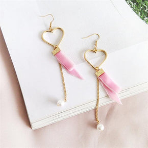 Velvet and Pearl Heart Drop Earrings - Shop Minu (earrings) Korean Aesthetic Apparel & Accessories