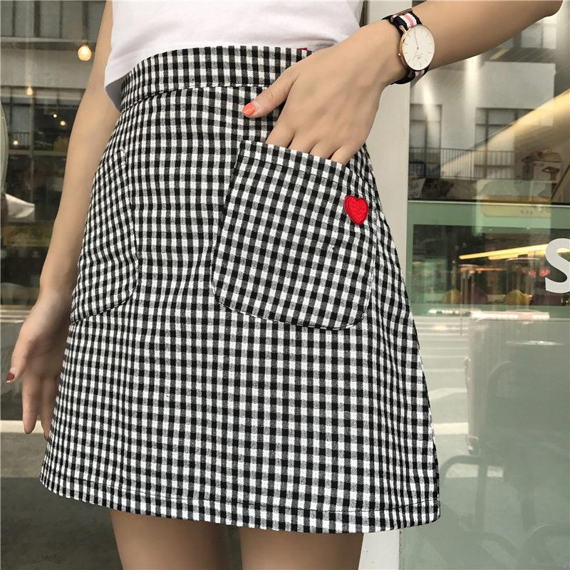 Checkered Heart Pocket Skirt - Shop Minu (skirt) Korean Aesthetic Asian Women's Fashion