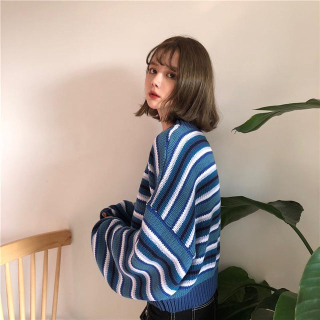 Retro Blue Striped Sweater - Shop Minu (sweater) Korean Aesthetic Asian Women's Fashion