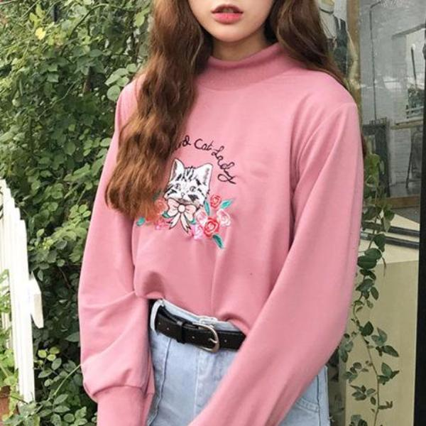 Cat Lady Sweatshirt - Shop Minu (sweatshirt) Korean Aesthetic Apparel & Accessories