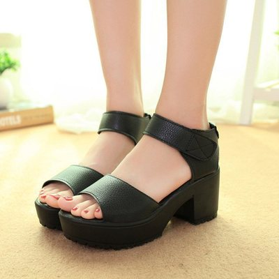 Peep-toe Chunky Heel Platform Sandals - Shop Minu (shoes) Korean Aesthetic Apparel & Accessories