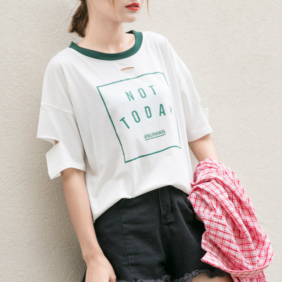 Not Today Burning Graphic Tee - Shop Minu (shirt) Korean Aesthetic Asian Women's Fashion