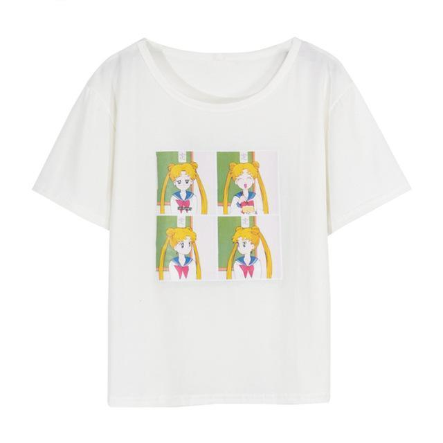 Sailor Moon Print T-Shirt - Shop Minu (shirt) Korean Aesthetic Apparel & Accessories