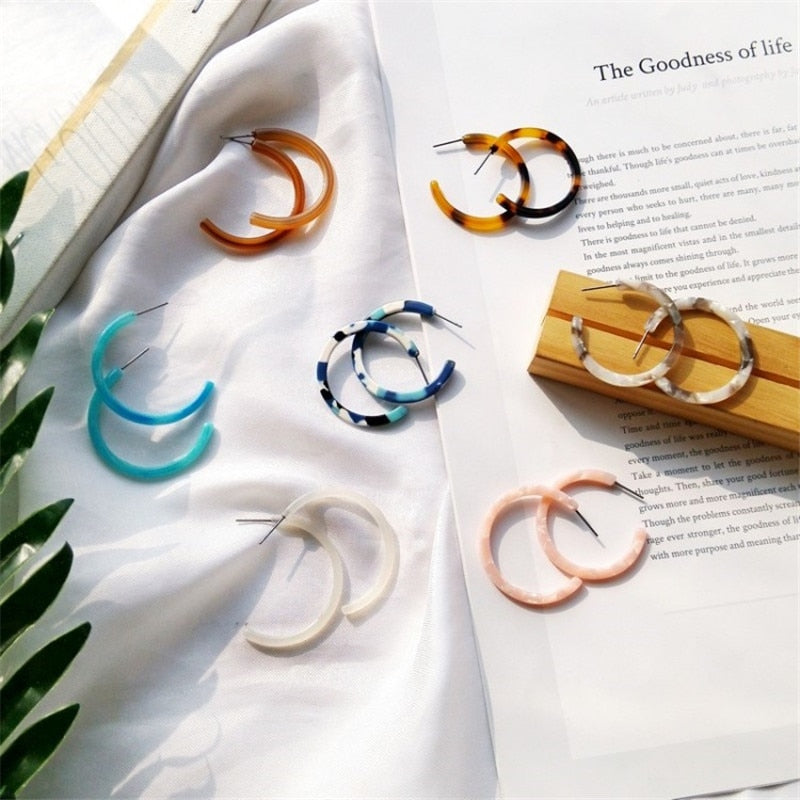 Colorful C-Shaped Earrings - Shop Minu (earrings) Korean Aesthetic Apparel & Accessories