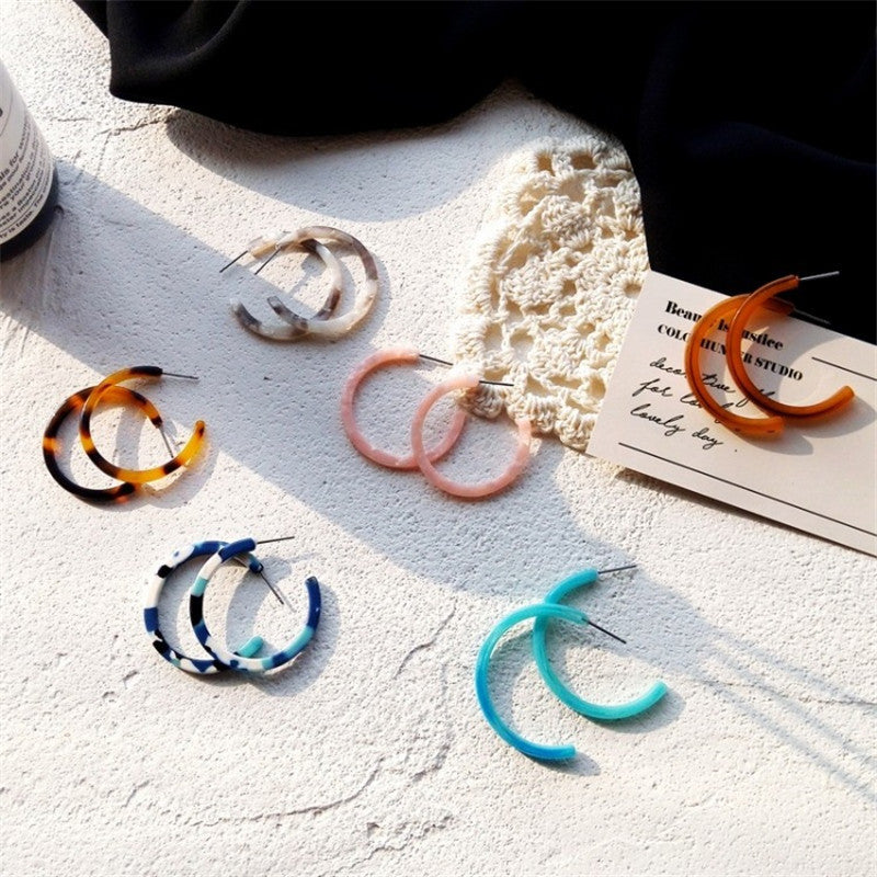 Colorful C-Shaped Earrings - Shop Minu (earrings) Korean Aesthetic Asian Women's Fashion